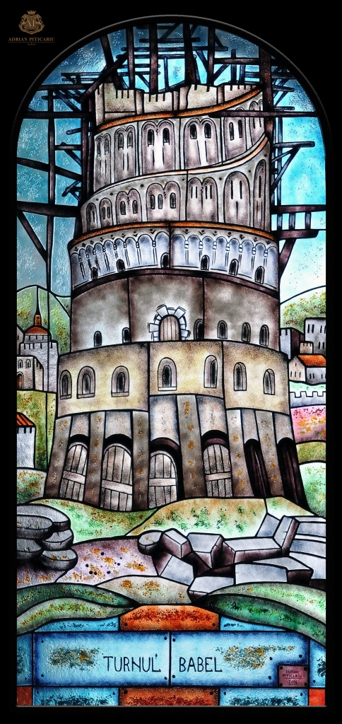 """""""Tower of Babel"""" stained glass"""