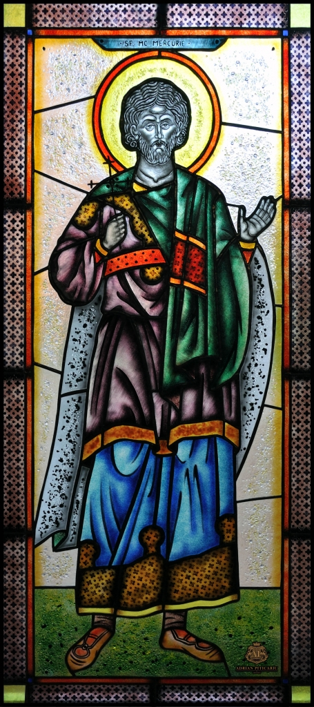 Tiffany stained glass with saint