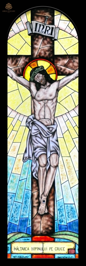 """""""Jesus crucified"""" stained glass"""