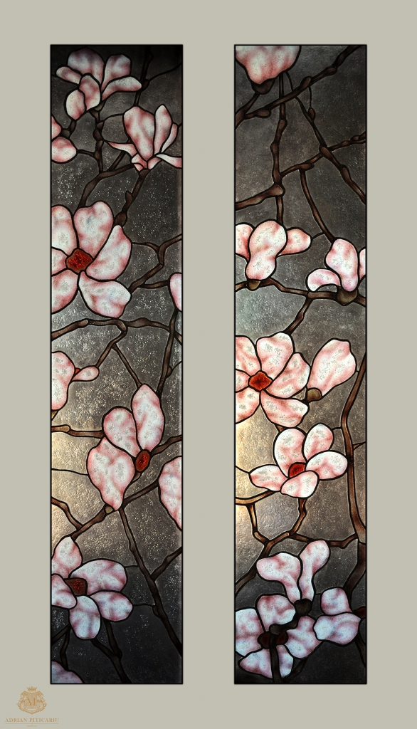 Magnolias stained glass